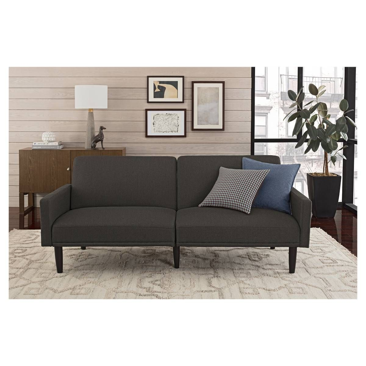 Linen Futon With Arms Gray Room Essentials Ideas Para