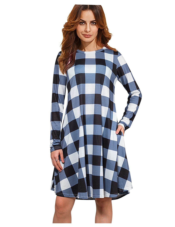 43065590cec XINGONGCHENG Women s Long Sleeve Checkered Plaid Pockets Casual Swing T-Shirt  Dress
