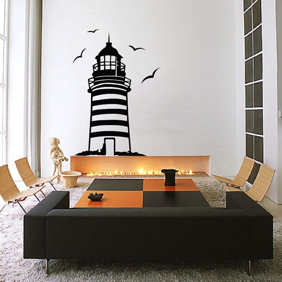 Lighthouse Wall Decal / Sticker Made From Vinyl | Decor | Kitchen | Bedroom  | Bathroom