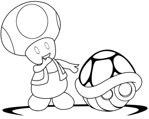 Toad With Green Shell Coloring Page Mario Coloring Pages Super