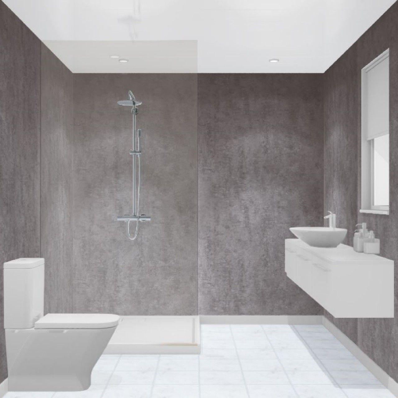 Multipanel Linda Barker Concrete Elements 2400mm X 1200mm Hydro Lock Tongue Groove Bathroom Wall Panel Concrete Bathroom Bathroom Wall Panels Bathroom Shower Walls