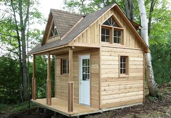 This micro cabin has a 12 x 12 footprint but is considered 100 square feet house