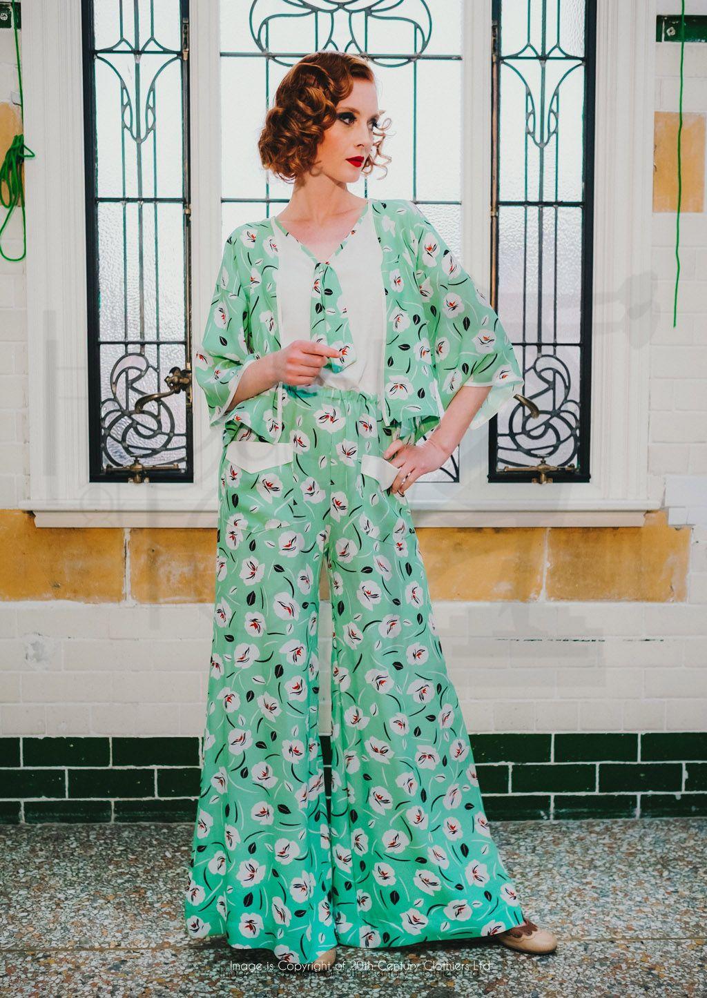 77995afd1b 1930s Style Beach Pyjamas   Kimono in Crocus