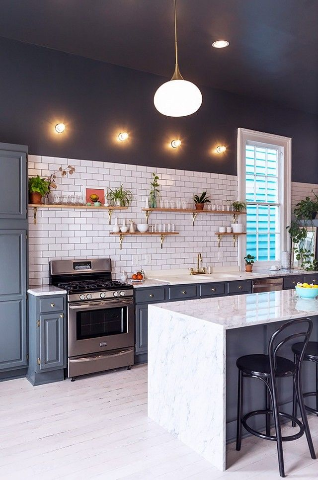 interesting use of darker cabinets cozinhas Pinterest Dark
