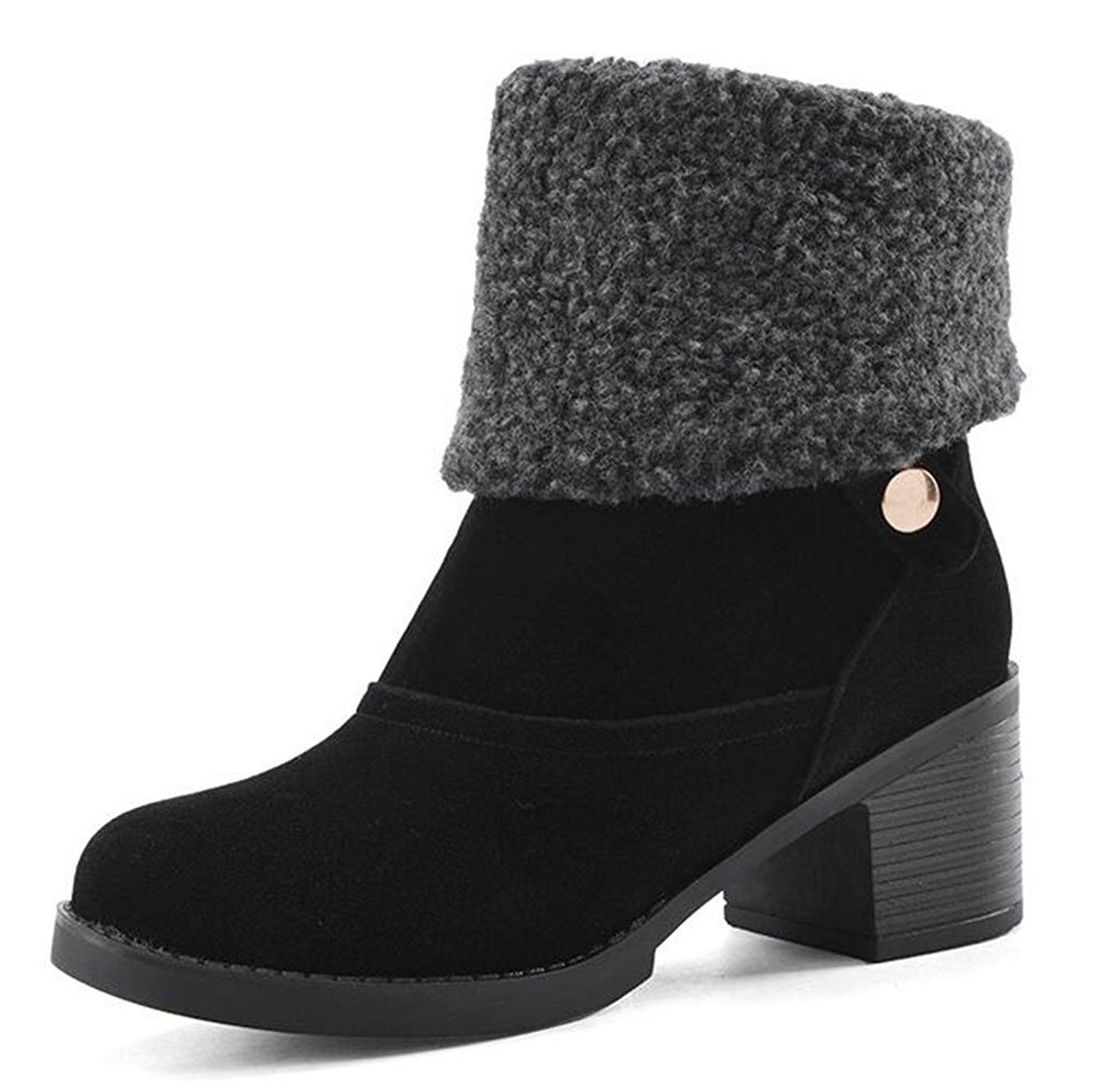 Women's Stylish Solid Round Toe Slouchy Mid Chunky Heel Knight Boots