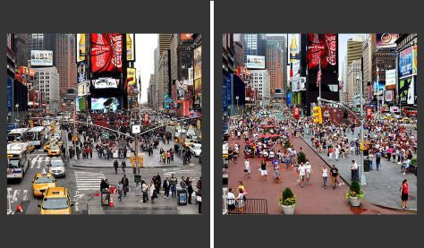 "Times Square before and after its ""pavement to plazas"" transformation. Image courtesy of NYCDOT/Earthpowernews."