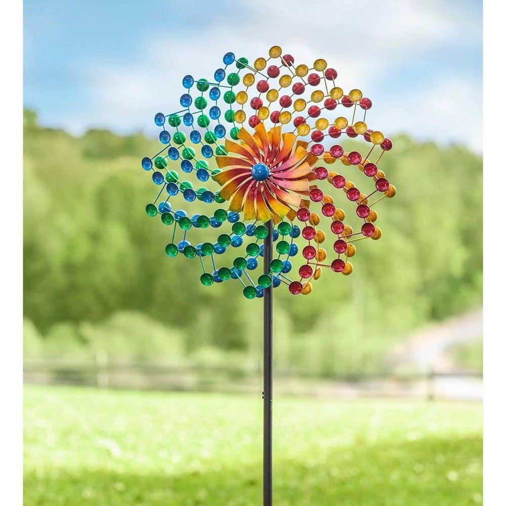 Lawn Wind Spinners Yard Outdoor Rainbow Decorative Ornament Kinetic Metal Sturdy