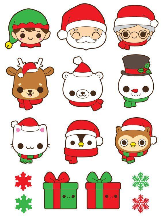 Christmas bear clipart, Christmas reindeer clipart, Santa Claus clipart, Christmas clipart, Santa clipart, penguin clipart, kawaii clipart #reindeerchristmas