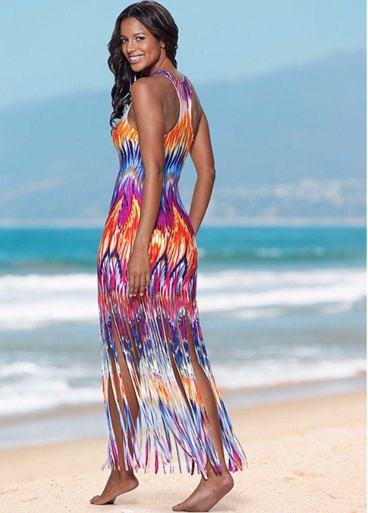 1638eba92d 🌸2017 boho clothing New Hot Selling Summer Casual beach dress tunic  Sleeveless V-Neck Tank Top Tassels Long Maxi Dress vestidos mujer
