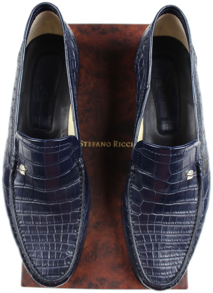 7c48597fa2f8 STEFANO RICCI EXOTIC BLUE CROCODILE LOAFER- SIZE 12- MADE IN ITALY   STEFANORICCI  LoafersSlipOns