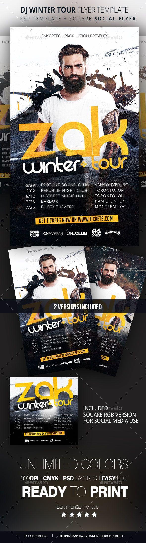 Dj Winter Tour Dates Flyer Template Pinterest Flyer Template Dj