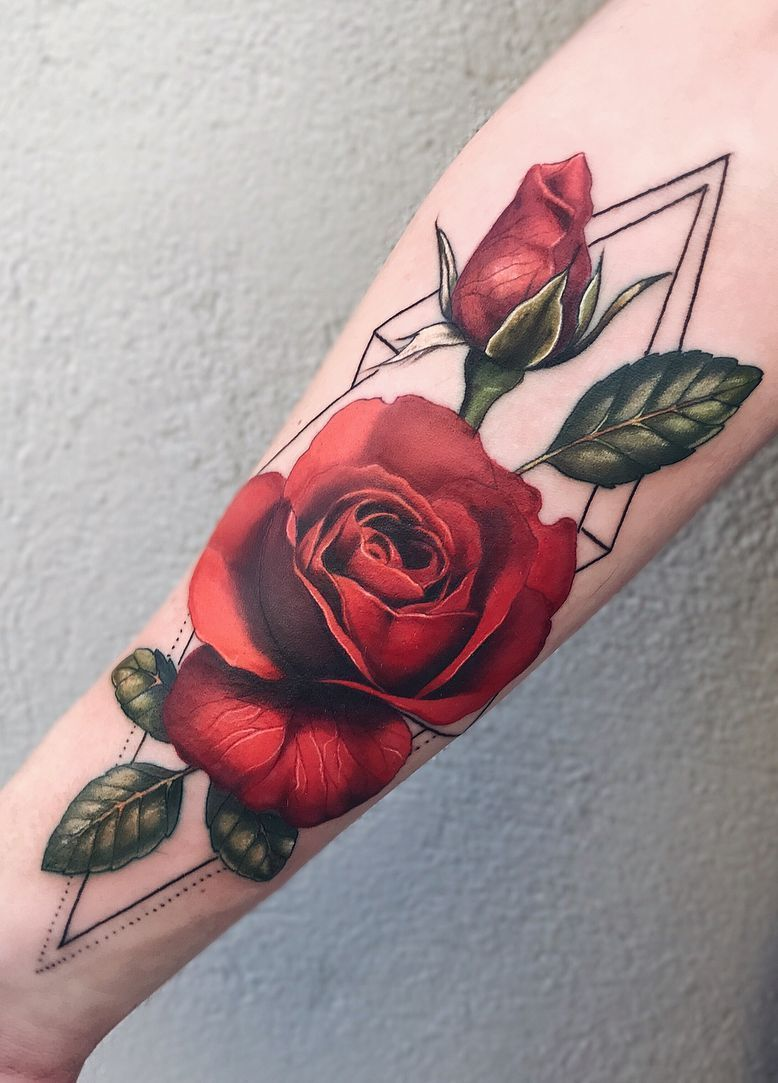 Jaw Drop Girl Tattoo Roses