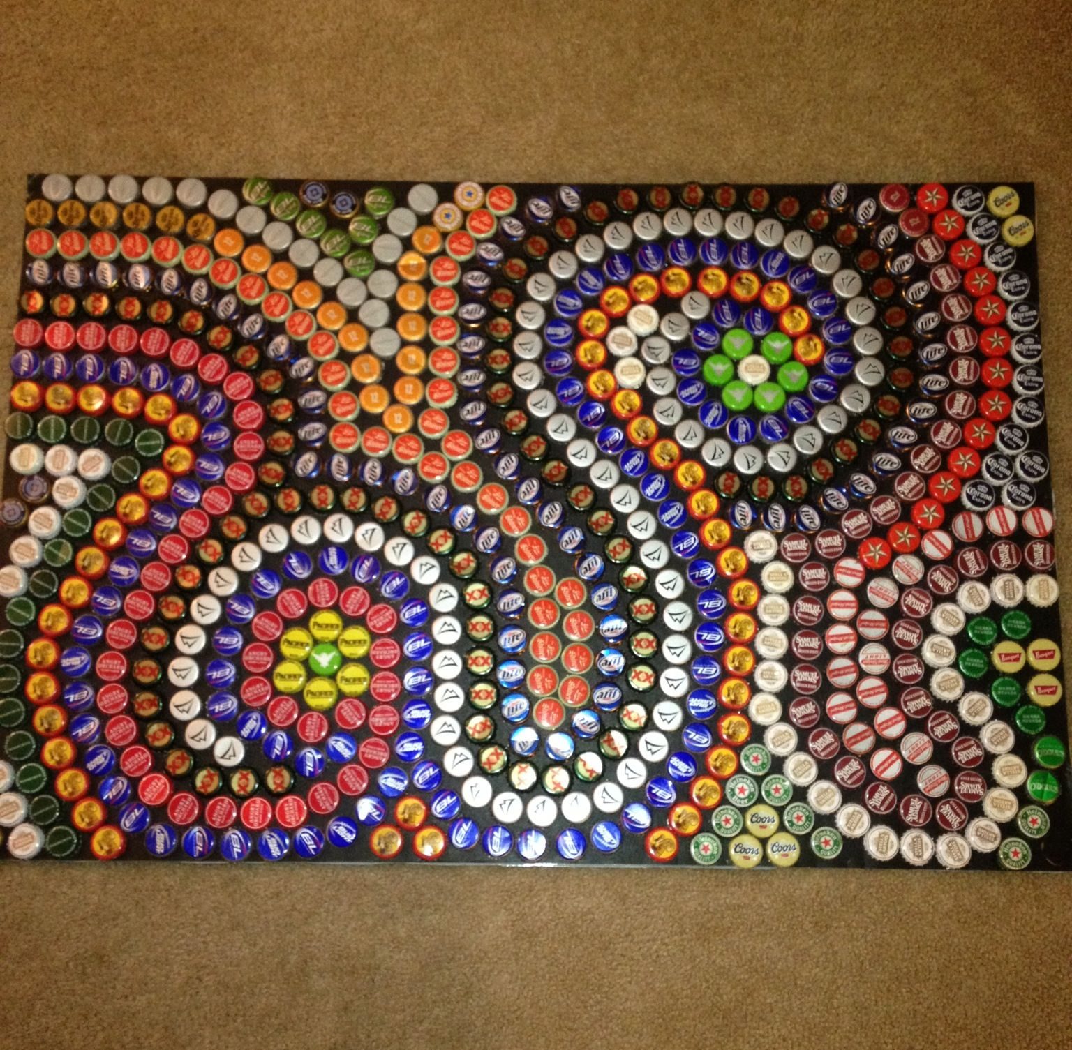 Beer bottle cap mural made it myself took forever but it for Beer bottle cap projects