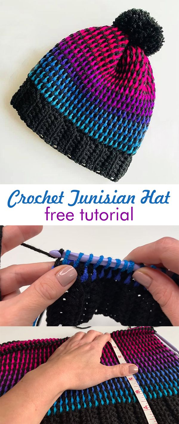 Crochet Colorful Tunisian Hat Beanie #learning