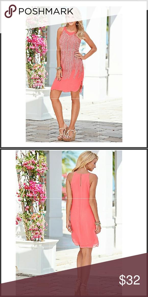 VENUS Coral Scatter Trim Mini Dress