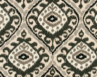 Black Grey White Ikat Fabric Modern Ikat Upholstery Fabric