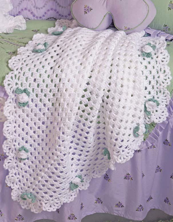 Floral Grannies Afghan Set Crochet Pattern | Manta, Cobija y Bebe