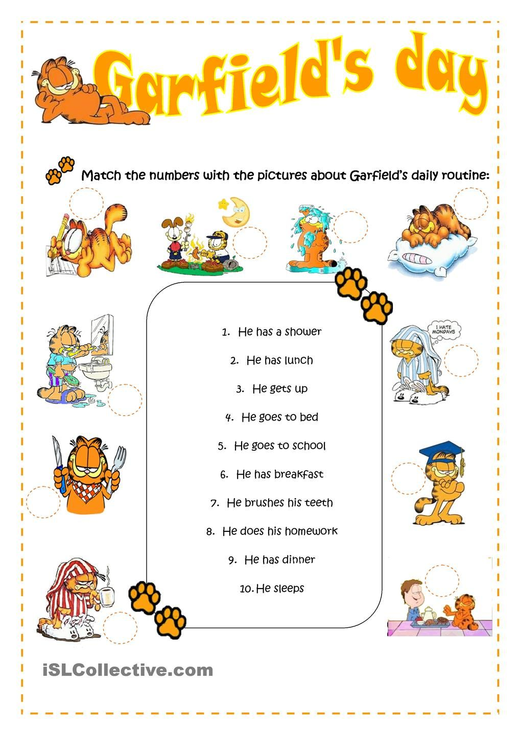 Worksheets Daily Schedule Worksheet esl for emma garfields daily routine teaching english worksheet free printable worksheets made by teachers