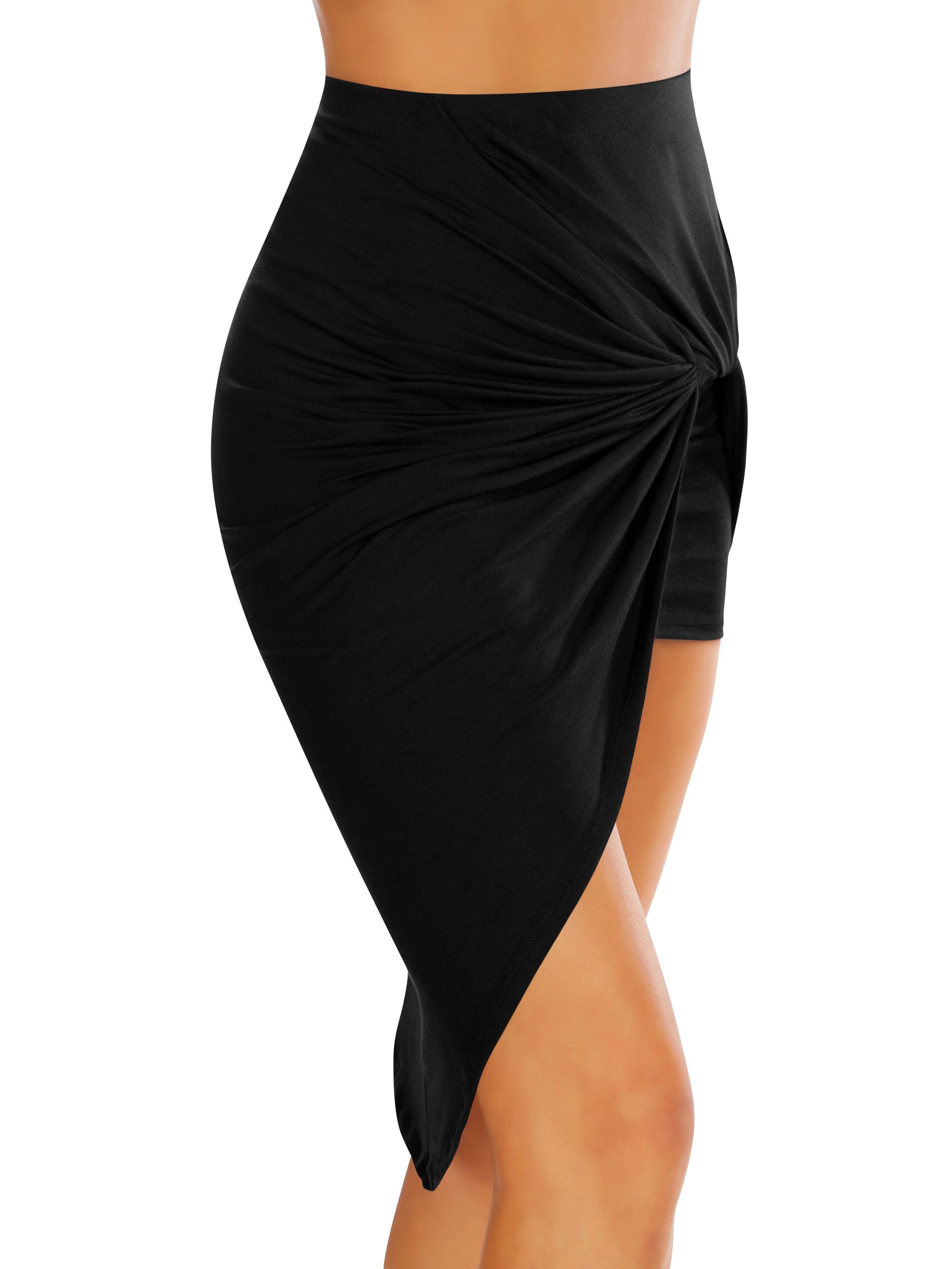 Womens Drape Up Stretchy Asymmetrical High Low Short Mini Bodycon Pencil Skirt Size Small, Mocha
