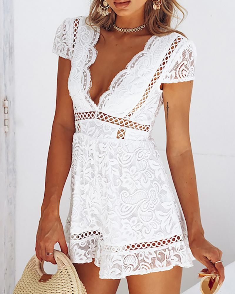 Plunge Hollow Out Lace Rompers Lace Playsuit White Playsuit White Lace Romper [ 1000 x 800 Pixel ]