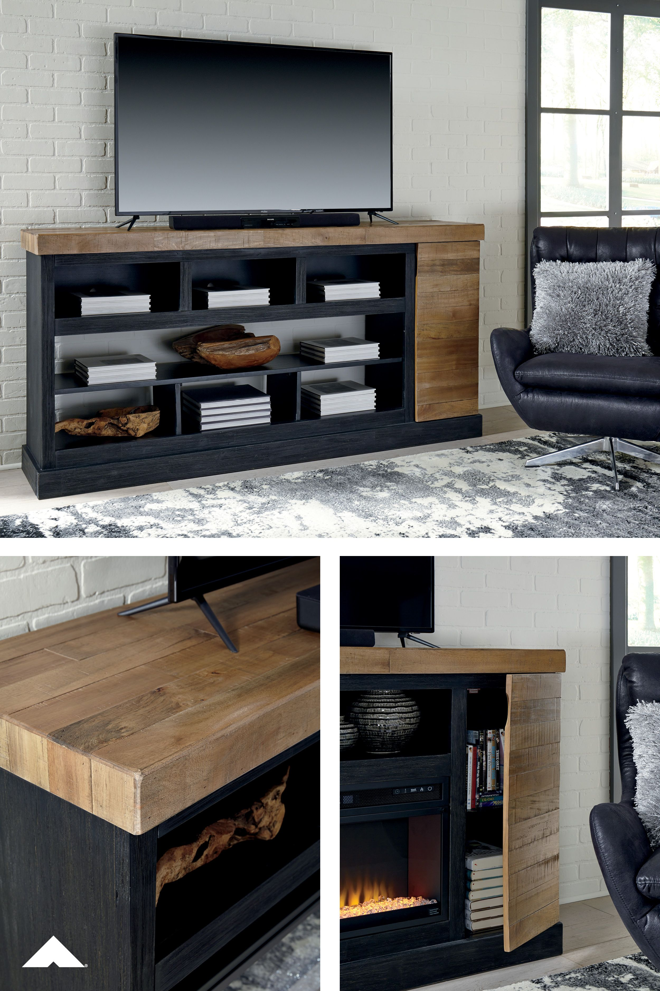 Tonnari Two Tone Brown Xl Tv Stand W Fireplace Option By Ashley