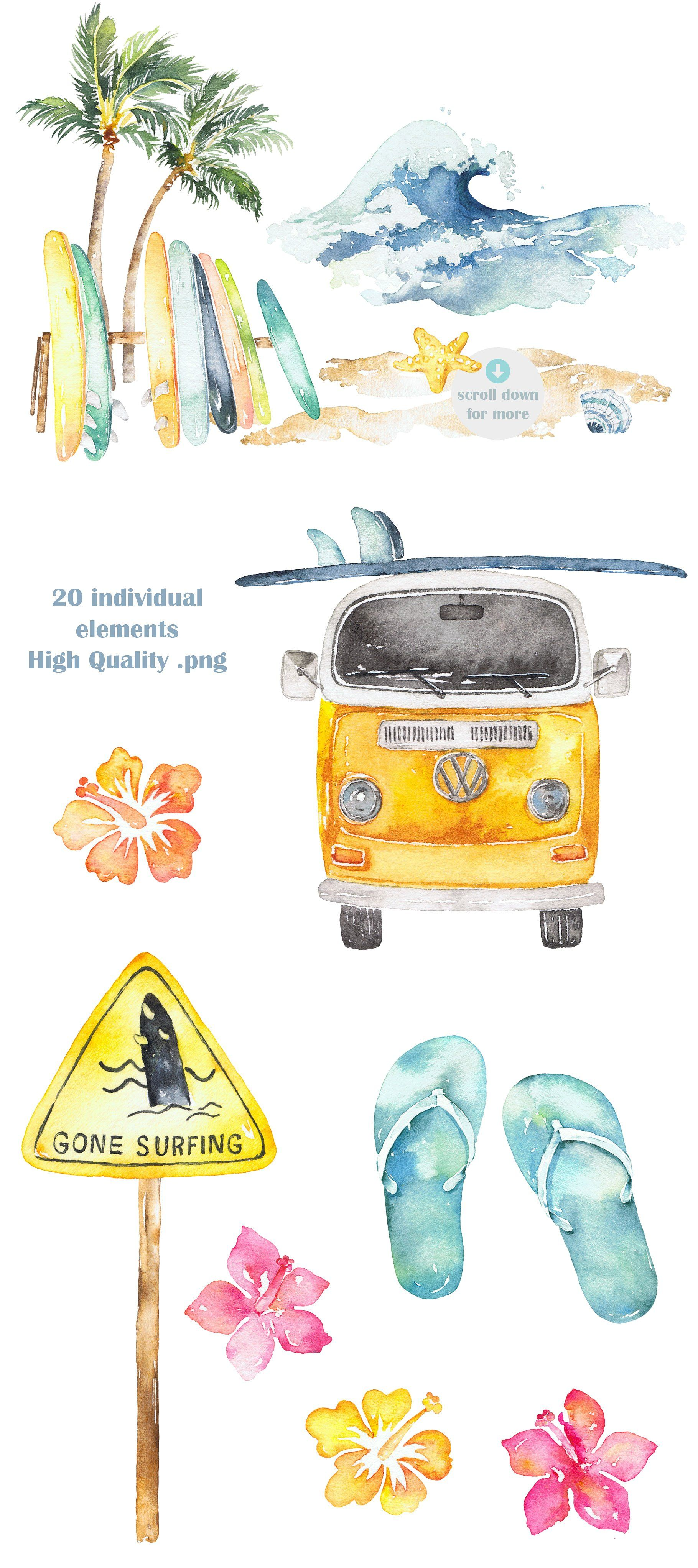 Surfing Watercolor Clipart Set Beach Watercolor Clip Art Vintage