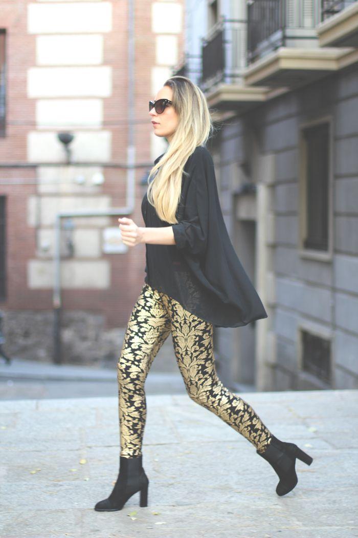 7e07e8534cb75c Barroque Look Silvester, Neue Mode, Damenmode, Golddruck, Bedruckte Hosen,  Schwarzes Gold