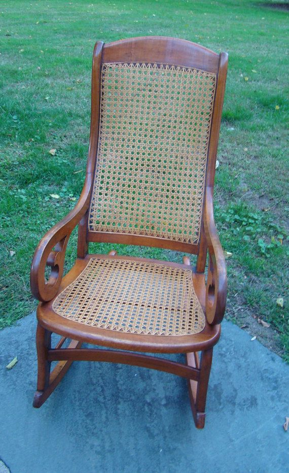 Vintage Rocker, Vintage Victorian, Rocking Chair, Victorian Chair, Wood Rocking  Chair, Cane Chair, Antique Furniture, Wicker Chair, 19th Century, ...