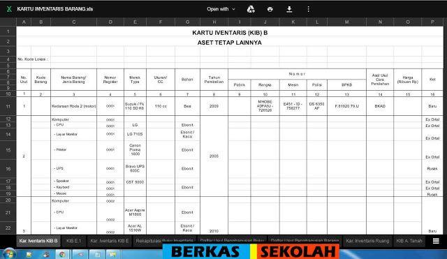 Format Laporan Inventaris Barang Format Excel Kartu Barang Gratis Sekolah