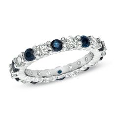 Sapphire and 1 CT. T.W. Diamond Eternity Band in 14K White Gold - Zales