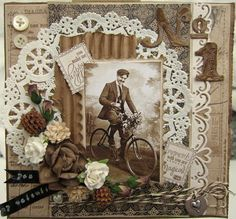 min lille scrappe-verden Vintage layout with doily
