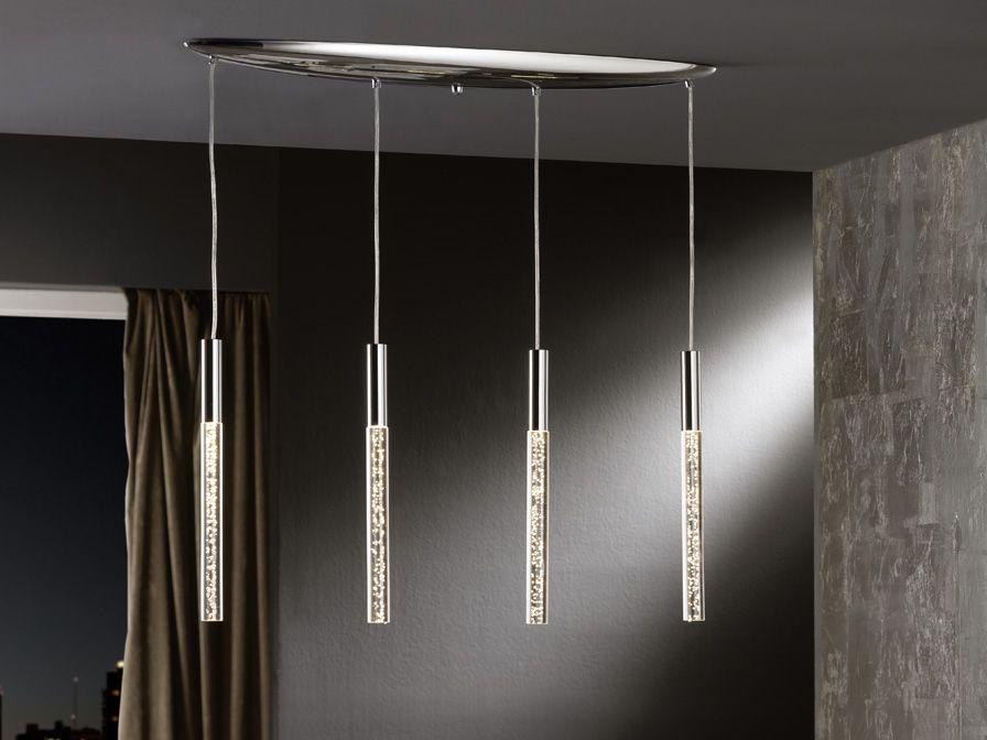 Preciosa lámpara LED realizada en metal acabado cromo brillo, con ...