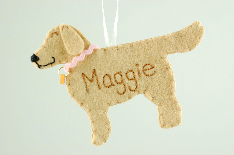 Personalized Felt Ornament Golden Retriever Dog Made To By Tumus