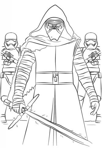 Kylo Ren And The First Order Stormtroopers Coloring Page From The Force Awakens Category Select F Star Wars Coloring Book Lego Coloring Pages Star Wars Colors