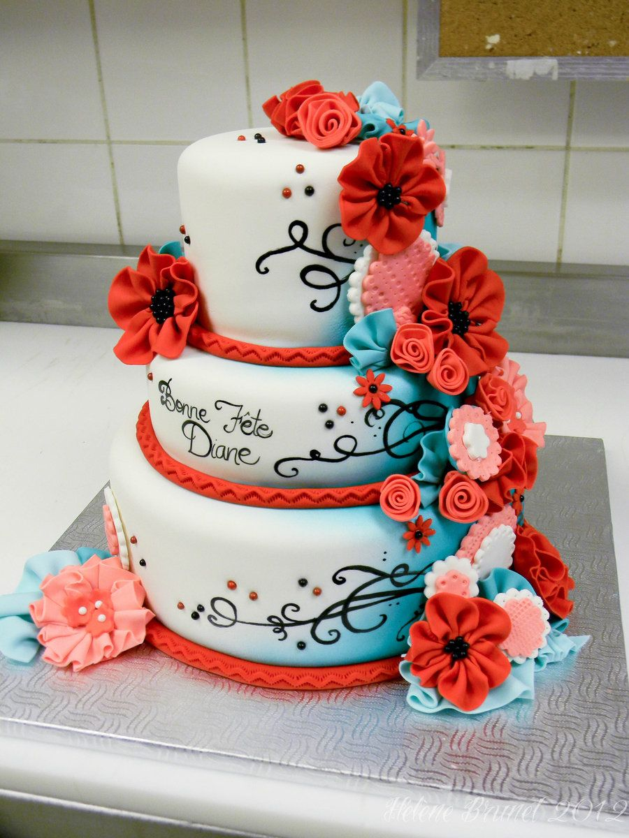 Red And Turquoise Cake Side A By Ercream Deviantart Com On