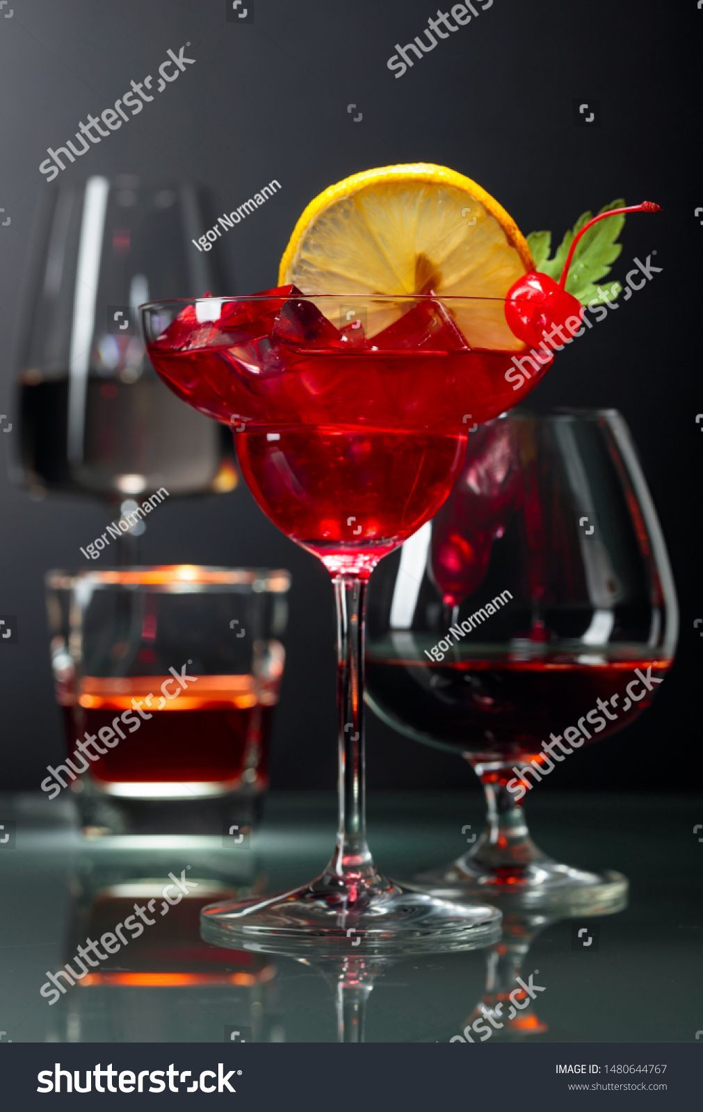Various Alcoholic Drinks On A Black Background Whiskey Brandy Cocktail And White Wine On A Black Background Copy Space Sp Alcoholic Drinks Alcohol Drinks