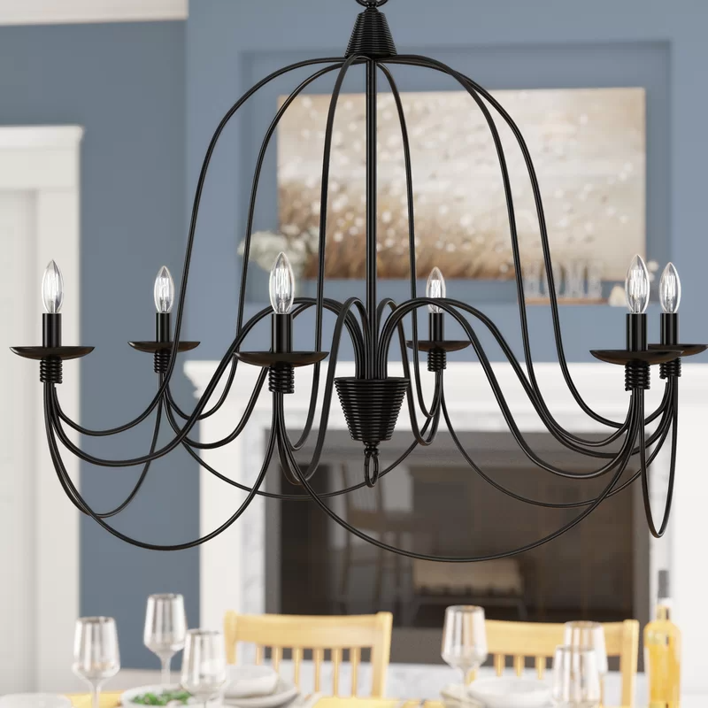 Ryckman 8 Light Candle Style Chandelier with Wrought Iron Accents