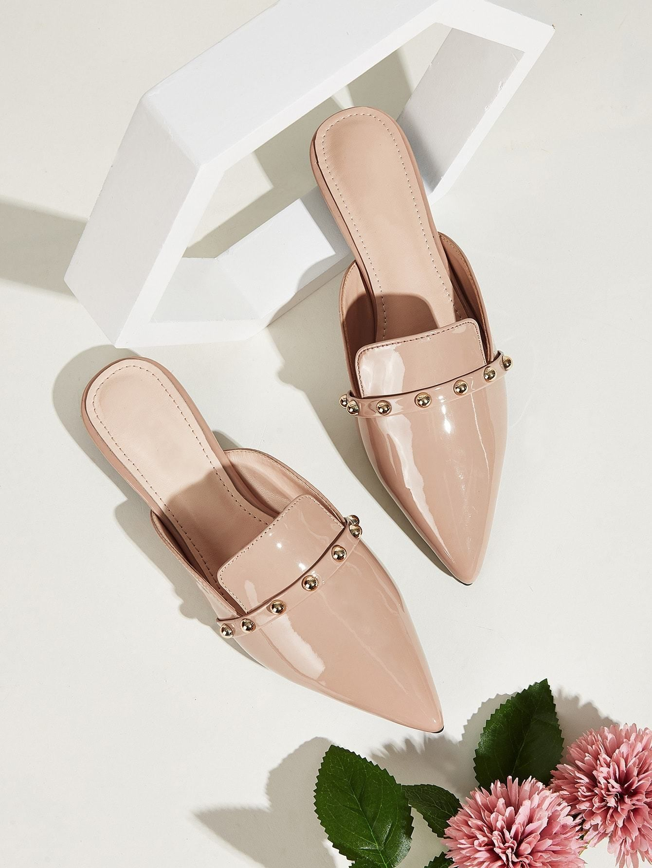 Point Toe Studded Flat Mules