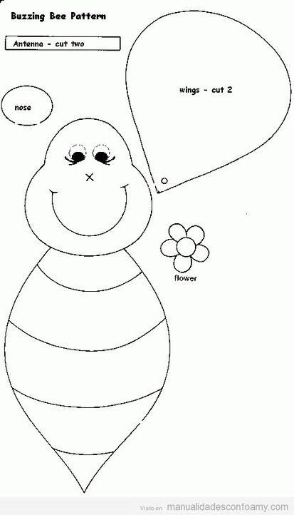 Molde para hacer una abeja de goma eva   dia del niño   Pinterest ...