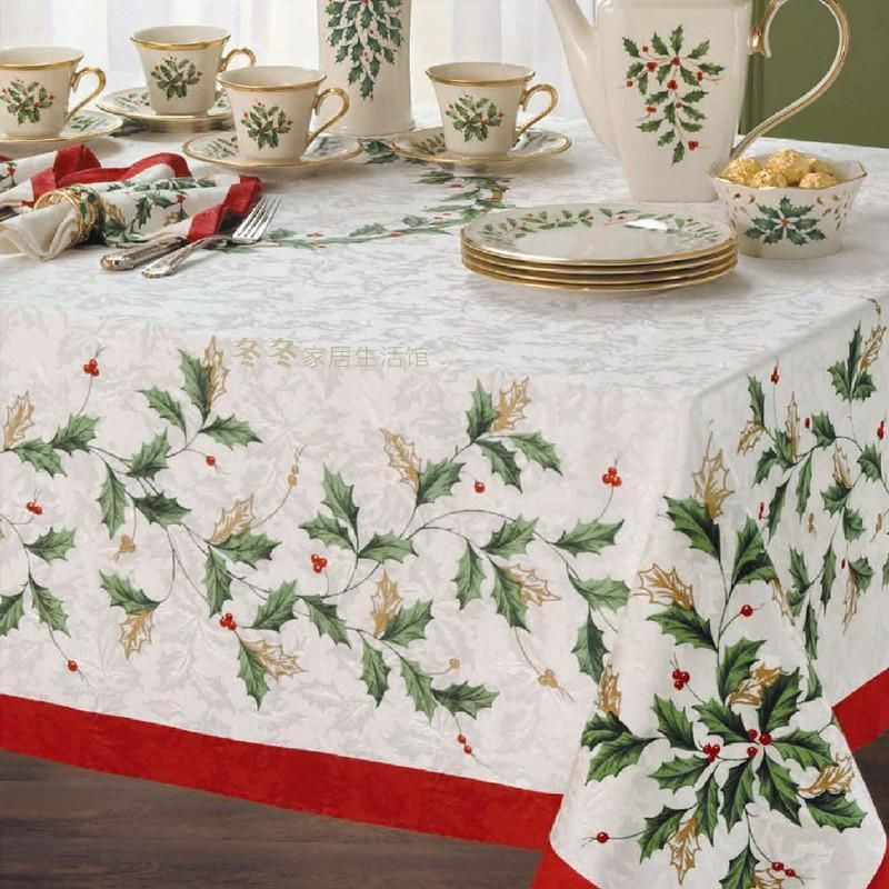 Lenox Holiday Table Linens Christmas Leaves Embroidery Table