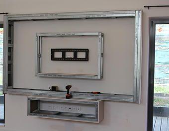 Meuble tv plaque de pl tre meuble tv am nagement salon cuisines modernes meuble tv plaque - Plaque fond de meuble ...