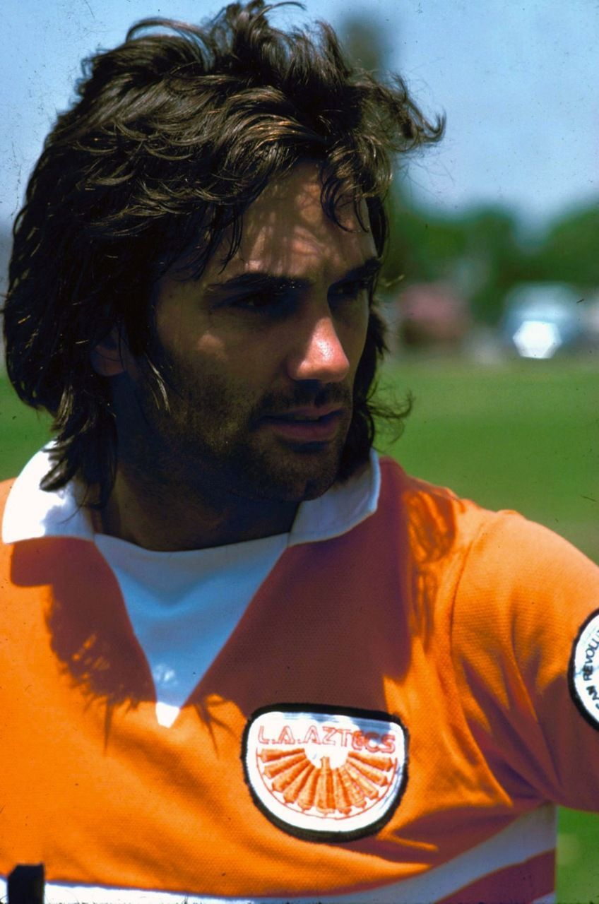 British football star George Best in the away kit for his post-Manchester United team, the short-lived North American Soccer League's Los Angeles Aztecs, United States, 1976, photographer unknown. #SoccerintheUnitedStates