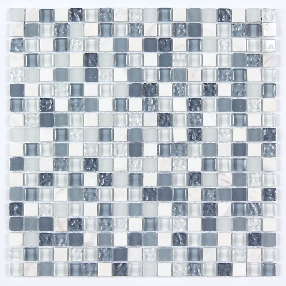 All Marble Mosaic Glass And Stone Mix 5/8 X 5/8 Glass Mosaic Tile ...