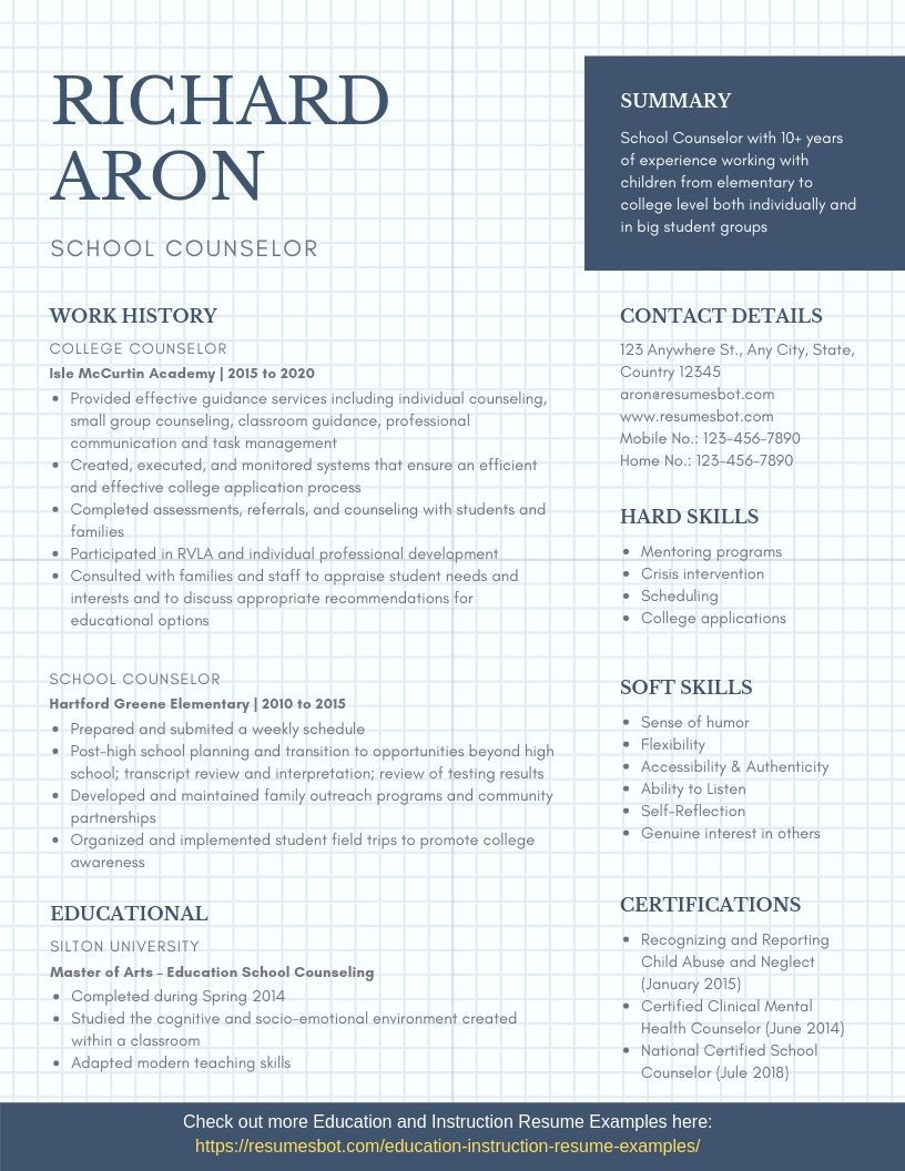 School Counselor Resume Samples Templates Pdf Doc 2021 School Counselor Resumes Bot Education Resume School Counselor Resume Examples