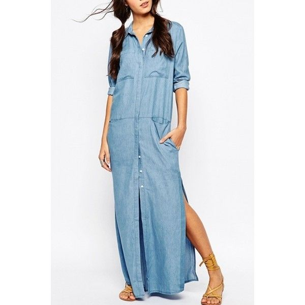 Side Slit Button Front Denim Maxi Dress ($26) ❤ liked on Polyvore featuring dresses, skyblue, pocket maxi dress, long sleeve denim dress, blue denim dress, maxi dresses and long sleeve dress
