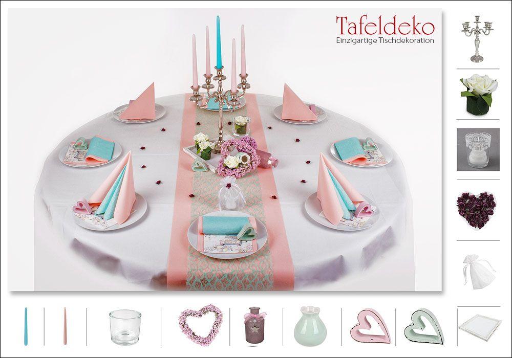 hochzeit romantische tischdekoration f r runde tische in rosa mint pastellfarben wei e. Black Bedroom Furniture Sets. Home Design Ideas