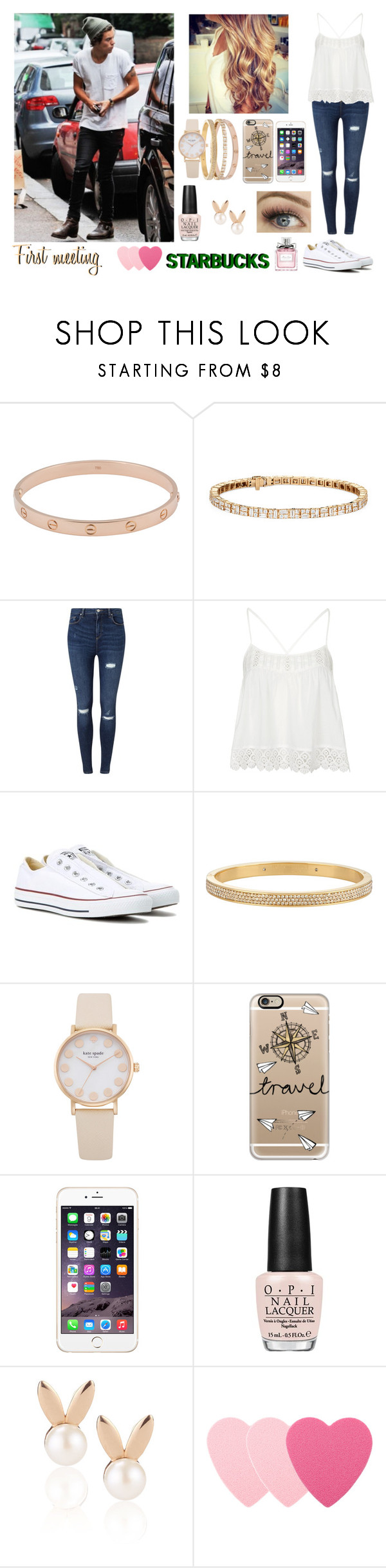 """""""First meeting with Harry"""" by mllestylesusa ❤ liked on Polyvore featuring Cartier, Miss Selfridge, Topshop, Converse, Henri Bendel, Casetify, OPI, Aamaya by priyanka, Sephora Collection and Christian Dior"""