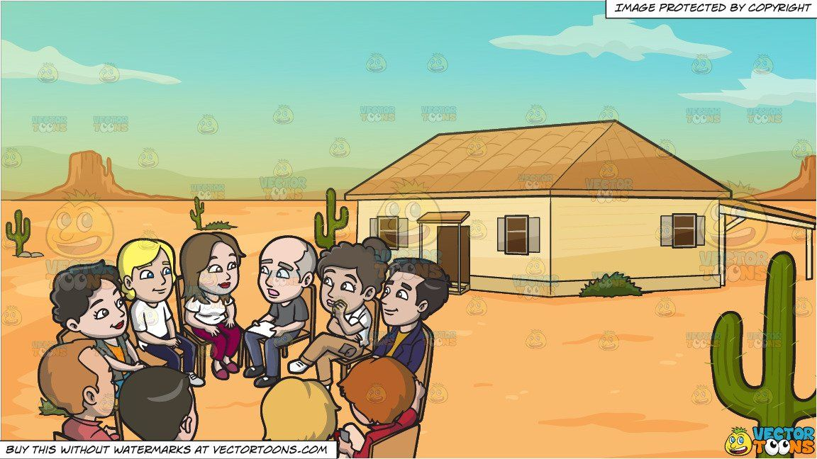 Clipart Cartoon A Big Support Group Meeting And A House