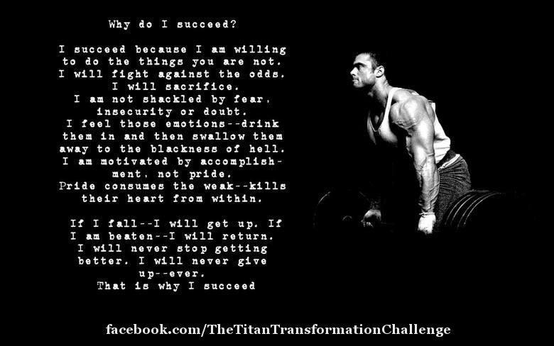 Everyone doesn't have the knowledge to make the drastic physical changes that they may want, which is why Titan Transformation was created. Titan Transformation is the ultimate in gym weapon for anyone wanting to create drastic physical and mental changes that positively impact every area of your life. To learn more about Titan Transformation and The 2013 Titan Transformation Challenge go to: www.unleashthetitan.com