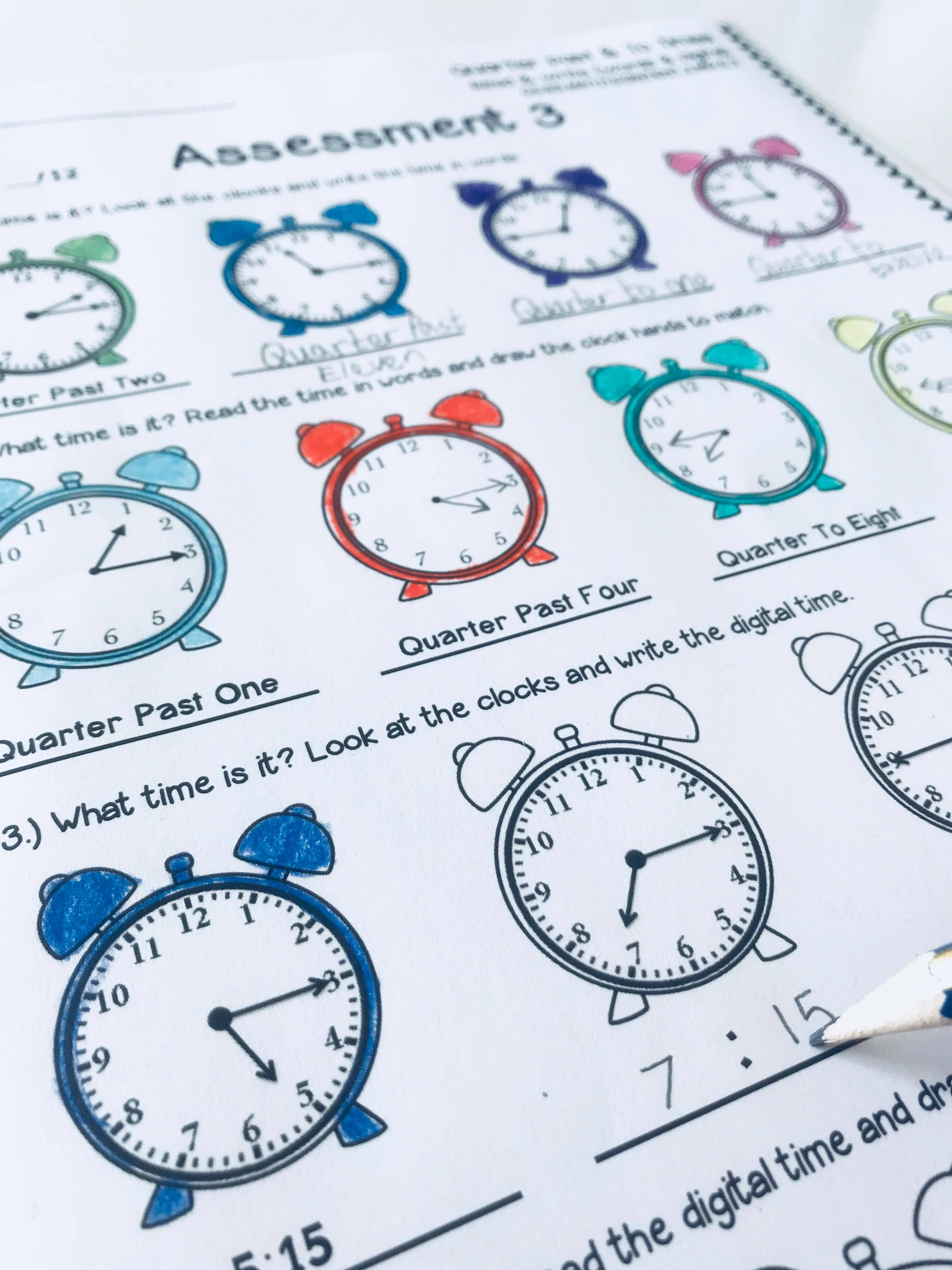 Time Worksheets And Assessment For Quarter Past To